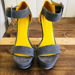 Shoedazzle - Yellow and Gray Wedges